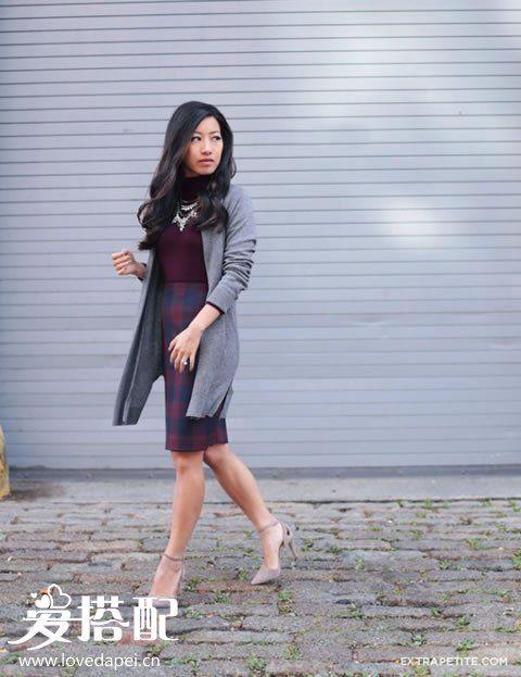 冬季OL女性高领毛衣搭配